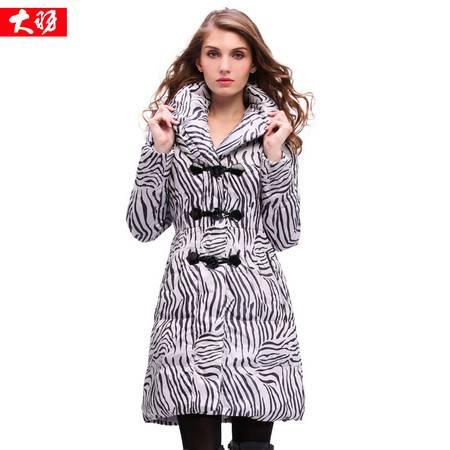 包邮大羽女式新款斑马纹羽绒服中长款加厚中老年冬装外套8926