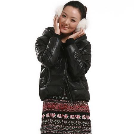 包邮大羽正品纯色女士羽绒服短款时尚休闲拼接连帽羽绒衣冬装外套9126