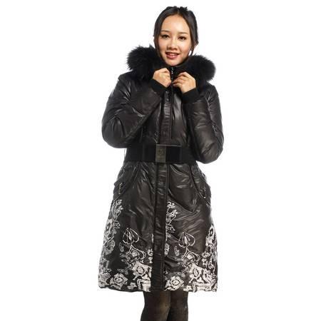包邮大羽羽绒服女中长款加厚中老年羽绒服妈妈装时尚印花冬装外套8931