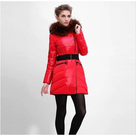 包邮大羽新款女式中长款加厚貉子毛领羽绒服女士修身冬装外套9161