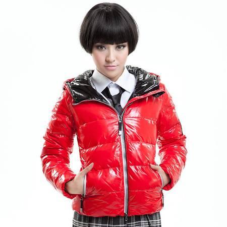 包邮大羽女士短款羽绒服时尚亮面韩版修身羽绒夹克9117