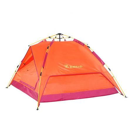 探路者户外露营防风雨3-4人双层免搭速开玻璃钢杆帐篷TEDD80746
