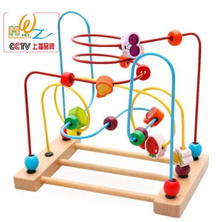 木丸子儿童绕珠串珠婴儿益智力玩具 儿童手眼协调绕珠积木