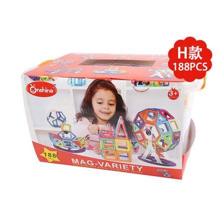 Onshine新品魔法智慧磁力片健构片玩具磁建构片 万象魔块 H款188片
