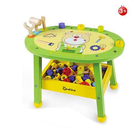 ONSHINE儿童仿真木制维修工具台 男孩益智过家家螺母积木拼装玩具