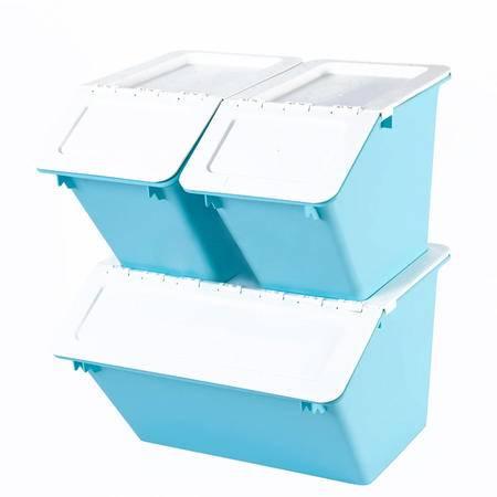 艾多 MULTI-AI 多功能翻盖收纳箱 可叠加玩具收纳盒 衣服整理箱百纳箱 组合套装 1特大2小