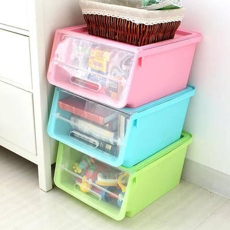 艾多 MULTI-AI 前开式衣柜收纳箱 塑料衣物整理箱 防潮百纳箱 储物箱3只装
