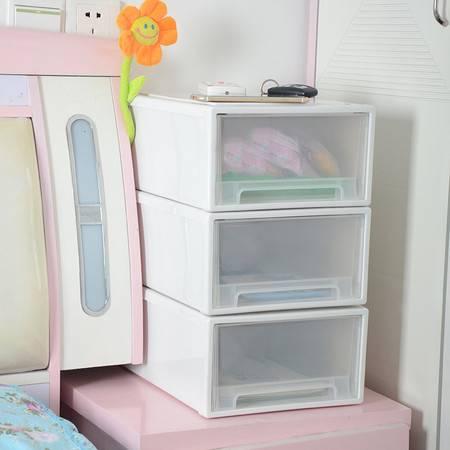 艾多 塑料透明抽屉式收纳箱柜 可叠加收纳柜 衣物整理箱储物柜