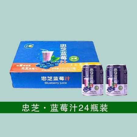 小兴安岭野生蓝莓汁100%原浆鲜榨浓浆果汁饮料整件(24瓶)批发包邮