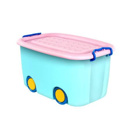 百家好世 儿童收纳箱带轮塑料玩具整理有盖儿童衣服整理 1个装