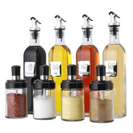 拜杰(Baijie)油壶调味罐玻璃油壶调味瓶调味罐8件套装LY-291