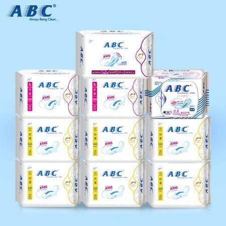 ABC棉柔纤薄卫生巾 纯棉清爽日夜优惠套装9包 加送日用装8片