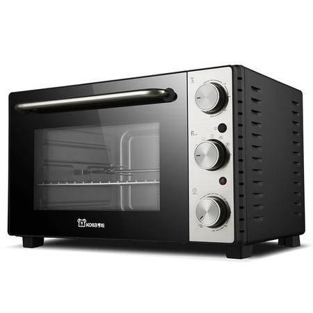 考啦防烫电烤箱 GF-3502SG 现代银 35L 超大容量家用四层烤位电烤箱 多功能烘焙箱烤叉可旋