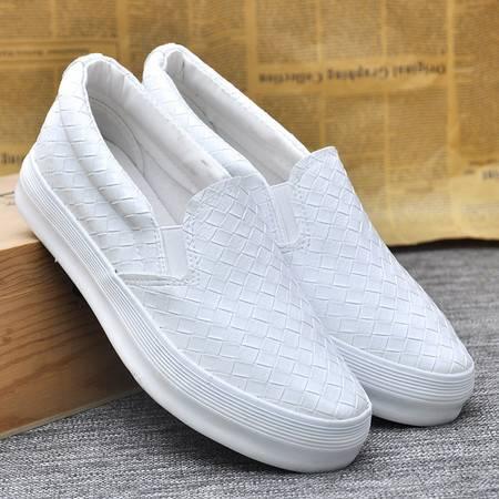 江云飞牛派k68男女情侣皮面网面透气帆布鞋白色懒人鞋一脚蹬小白鞋nv板鞋