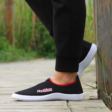 江云飞辉跃春夏季透气网面鞋网鞋懒人板鞋韩版男士凉鞋一脚蹬套脚男鞋