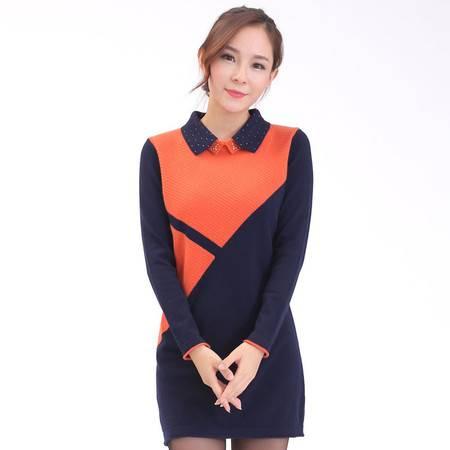 2016年秋冬新款羊绒衫女套头拼接中长款韩版修身长裙针织打底衫polo领