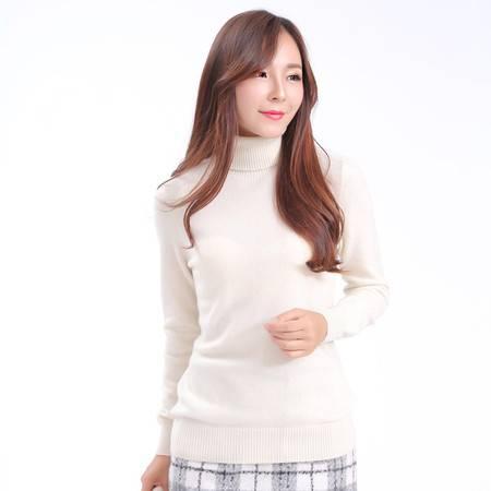女装正品羊绒衫女毛衣百搭纯色修身长袖堆堆领套头短款针织打底衫上衣