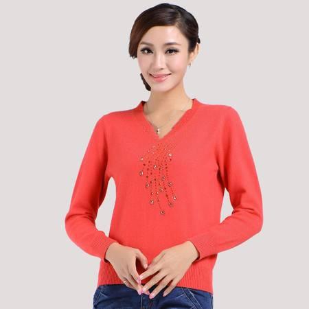 镶钻套头V领羊绒衫女时尚长袖针织毛衣纯色百搭打底衫正品