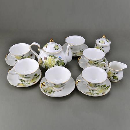 高档创意骨瓷陶瓷英式咖啡杯碟下午茶 16头蝶恋花咖啡杯套装