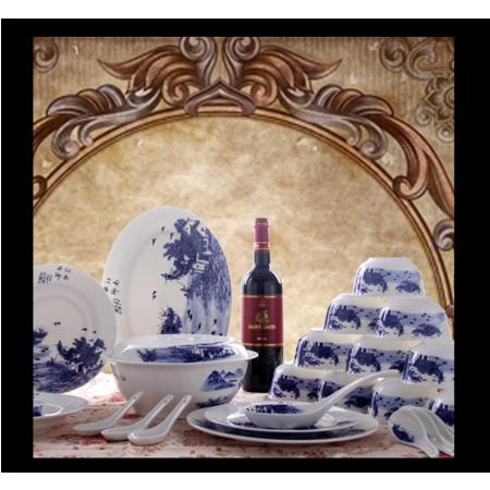 2016新款景德镇陶瓷餐具套装56头高档骨瓷餐具碗碟套装