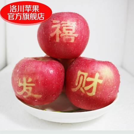 陕西洛川苹果水果红富士苹果贴字艺术果礼盒装12枚85mm