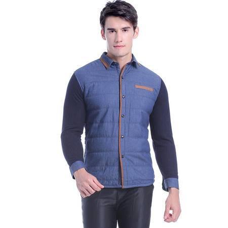 浪莎 羽丝绒保暖衬衫 男士秋冬棉袄加厚衬衫领英伦风保暖上衣L88556