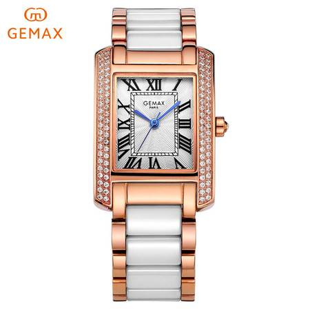 格玛仕GEMAX 女表方形陶瓷手表  时尚女腕表石英表 腕表 女士手表MX2111