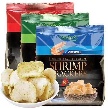 Papatonk 啪啪通 印尼进口 虾片 原味 海苔味 冬阴功味 组合装 40g/袋*3