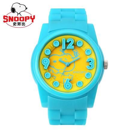 史努比 (Snoopy) 儿童手表  卡通果冻 防水硅胶 男童女童可爱学生石英表 蓝色