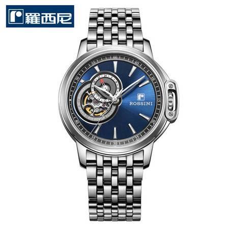 罗西尼 新款勋章系列 机械表 商务腕表 防水正品男表  蓝色钢带8633W05C