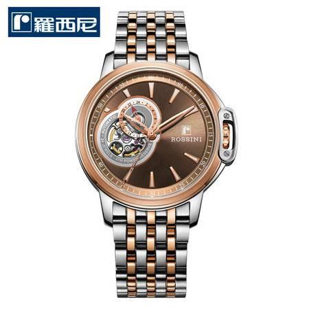 罗西尼 新款勋章系列 机械表 商务腕表 防水正品男表 咖啡色钢带 8633T07F