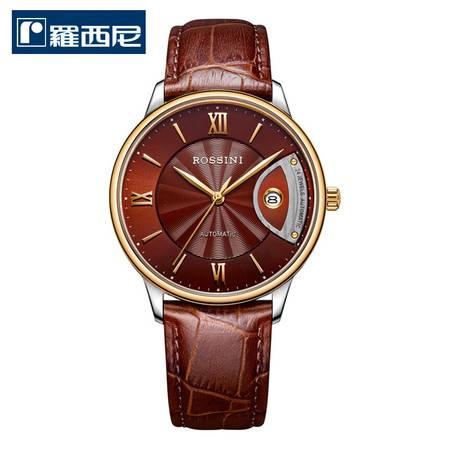 罗西尼 雅尊商务系列 超薄日历防水手表 腕表 机械男表 男士皮带手表