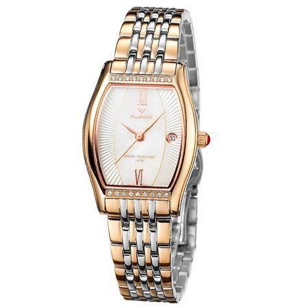 佛朗戈 长方形石英手表女款复古薄款 腕表 女士钢带手表 F-8066L-C