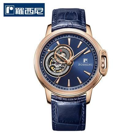 罗西尼 新款勋章系列 机械表 商务腕表 防水正品男表 蓝色皮带 8633G05D