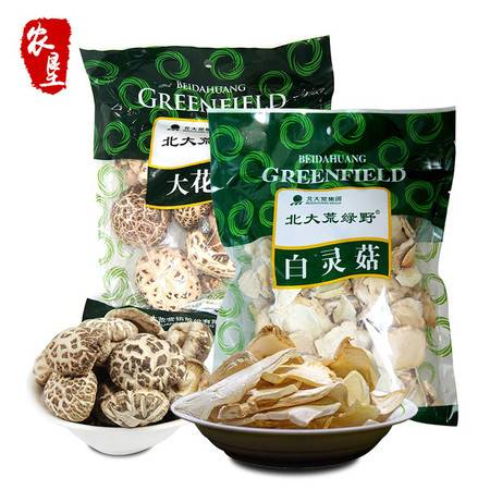 【农垦 黑龙江】北大荒 绿野 自然晾晒 绿野大花菇150g+白灵菇150g