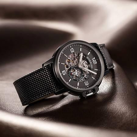 罗西尼 手表雅尊商务系列 时尚腕表 全镂空运动休闲 小秒针自动机械男士手表