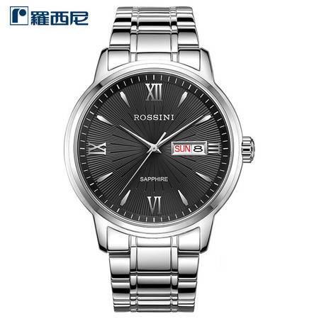 罗西尼 简约商务经典系列 时尚男女防水石英腕表  星期、日历双历显示手表