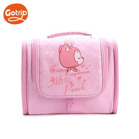 gotrip阿狸 防水M三开门洗漱包-粉色