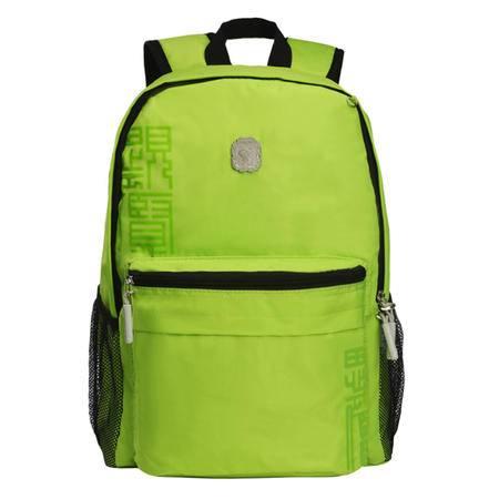 Kongzi孔子书包 2年级-6年级学生系列清爽翠绿涤纶绿色双肩背包A303G-绿色