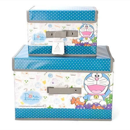 哆啦A梦 儿童学生收纳箱大小收纳盒衣物整理箱杂物整理盒2件套 DM-4525-图色