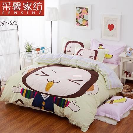 采馨家纺 床上用品儿童卡通全棉四件套纯棉被套1.5m1.8m 公主之恋