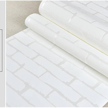 HEID复古浅灰仿白砖纹砖块砖墙砖头文化石砖防水环保立体背景墙纸