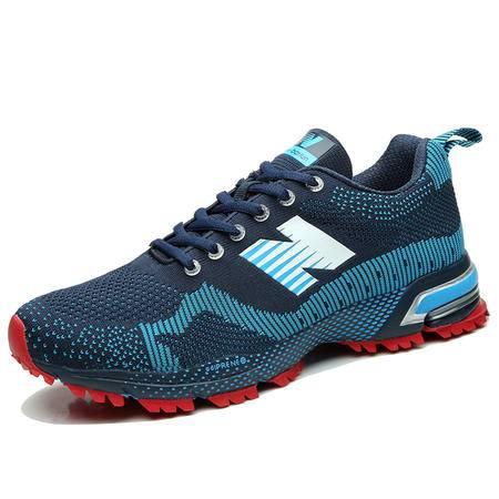 纽巴伦 夏季新款透气网面运动鞋男女跑步鞋情侣款休闲鞋 深蓝白