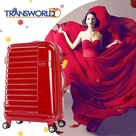 transworld红色婚庆行李箱结婚拉杆箱陪嫁旅行箱20寸女