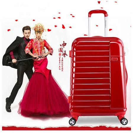transworld红色婚庆行李箱结婚拉杆箱陪嫁旅行箱24寸女