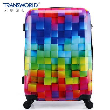 Transworld拉杆箱女时尚魔方箱包20寸旅行箱24寸行李箱28寸密码箱