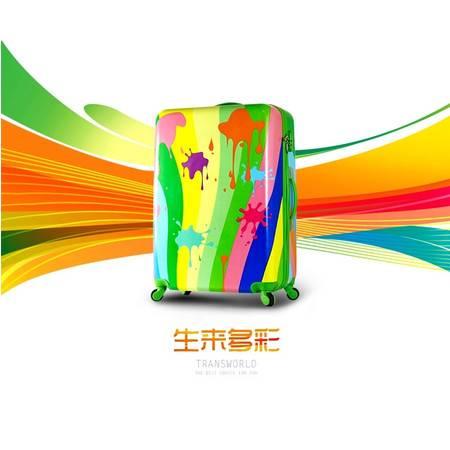 Transworld经典明星款拉杆箱万向轮旅行箱行李箱登机箱彩色涂鸦款