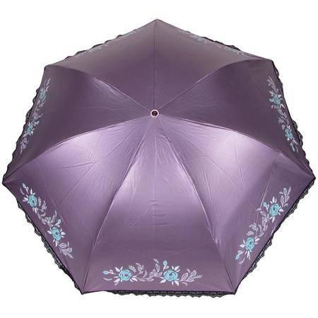 蕾丝紫外线晴雨伞黒涤彩胶铅笔伞三折天堂伞【多省包邮】