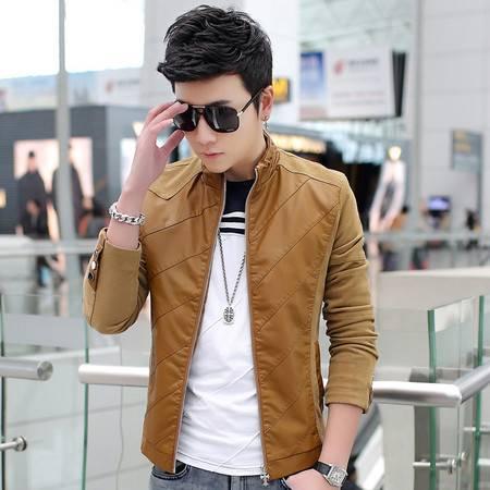男韩版外套夹克衫 青年修身型潮立领PU皮
