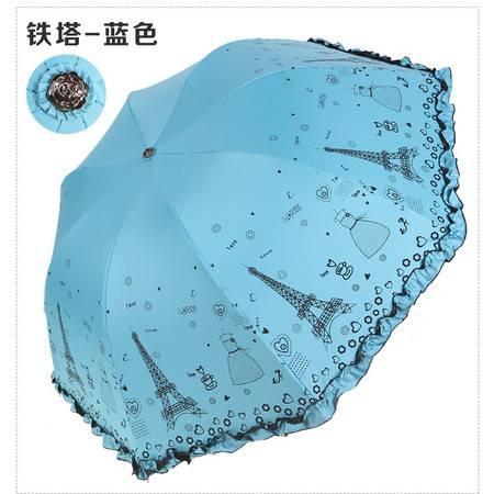 黑胶防晒遮阳伞晴雨两用公主伞加厚优质黑胶折叠三折晴雨伞【全国包邮】【新款】